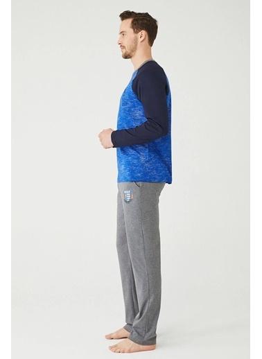 U.S. Polo Assn. Erkek Yuvarlak Yaka Pijama Takımı Saks